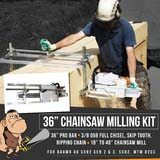 "Baumr Ag SX92 SX82 MTM Chainsaw Milling Mill Kit 36"" Bar & 3/8 Full Chisel Chain"