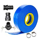 "30m x 1.5"" 38.1mm ID Outlet Layflat Hose Kit Camlock Clamps Water Transfer Pump"