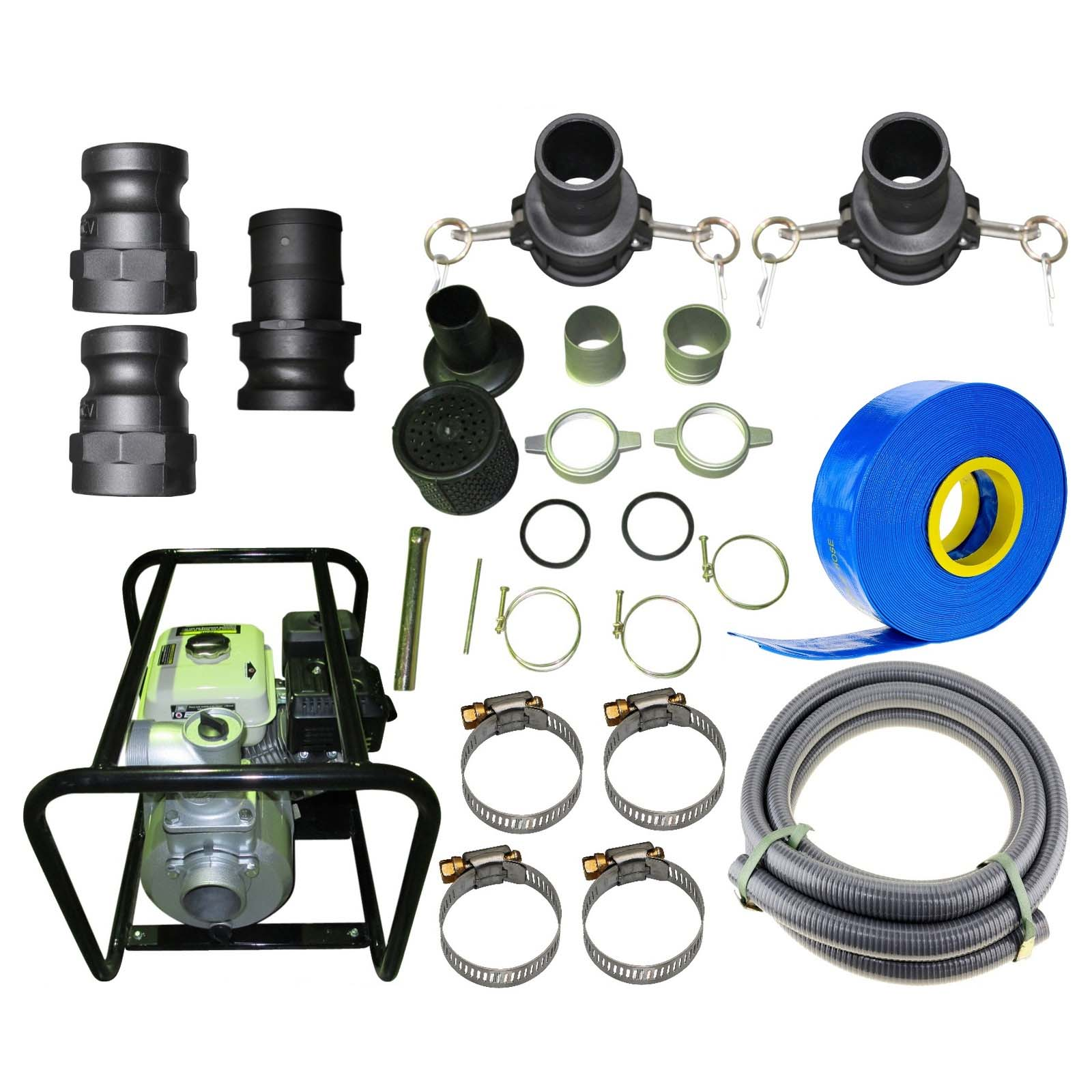 "6.5HP Water Transfer Pump 4 Stroke Petrol 76mm 3"" High Vol. 50000L/HR + Hose Kit"