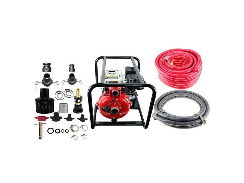 6.5HP Twin Impeller Recoil Start Water Fire Fighting Fighter Pump And Hose Kit