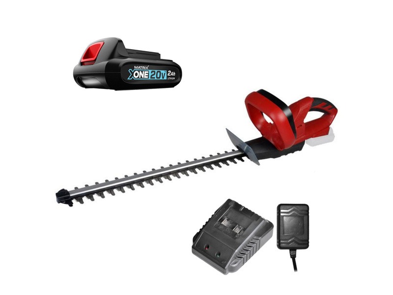 MATRIX 20V X-ONE Cordless Hedge Trimmer Charger 2AH Battery Kit